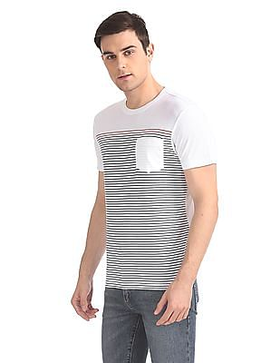 Arrow Sports Striped Crew Neck T-Shirt