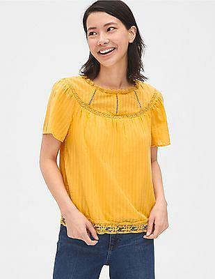 GAP Yellow Lace-Trim Flutter Sleeve Blouse