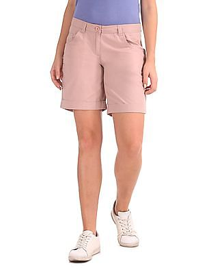 Arrow Woman Slim Fit Flat Front Shorts