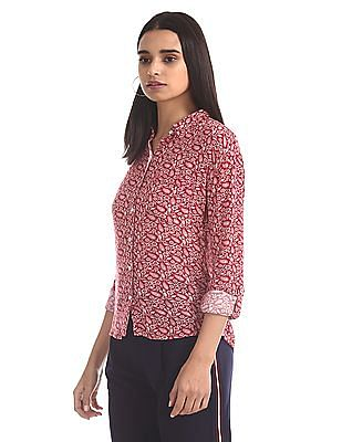 U.S. Polo Assn. Women Red And White Floral Print Woven Shirt