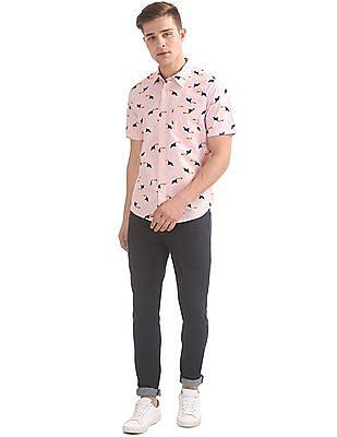 Aeropostale Toucan Print Short Sleeve Shirt