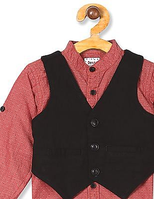 Donuts Red Boys Mandarin Collar Shirt With Waistcoat
