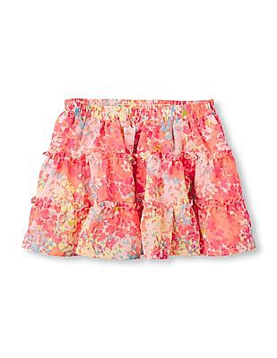 The Children's Place Toddler Girl Pink Floral Print Tiered Skirt