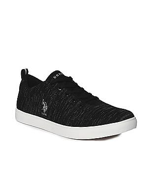 U.S. Polo Assn. Black Round Toe Knit Upper Sneakers