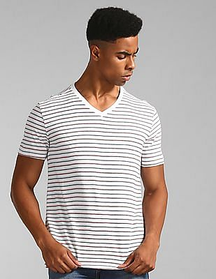 GAP White V-Neck Striped T-Shirt
