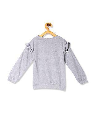 Cherokee Grey Girls Printed Ruffle Sleeve Sweatshirt
