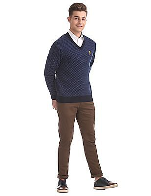 U.S. Polo Assn. V-Neck Patterned Knit Sweater