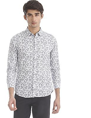 Flying Machine White Barrel Cuff Floral Print Shirt