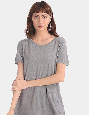 GAP Women Grey Round Neck Heathered T-Shirt