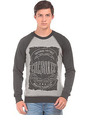 Cherokee Printed Front Crew Neck Sweatshirt