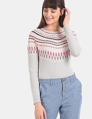GAP Grey Fair Isle Pattern Crew Neck Sweater