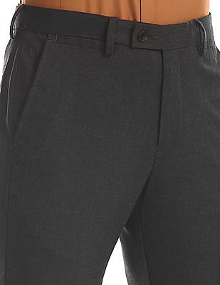 Arrow Grey Tapered Fit Solid Trousers
