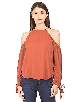 Aeropostale Cold Shoulder Crinkled Top