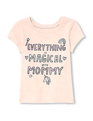 The Children's Place Baby And Toddler Girl Short Sleeve Glitter 'Everything Is Magical With Mommy' Graphic Tee