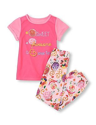 The Children's Place Girls Short Sleeve '#Sweet #Awesome #Loveit!' Top & Printed Pants PJ Set