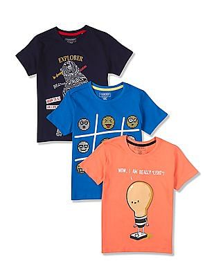 Cherokee Boys Crew Neck Printed T-Shirt - Pack Of 3