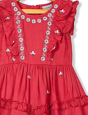 Cherokee Girls Embroidered Tiered Dress