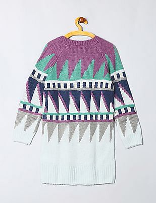 GAP Girls Blue Intarsia Slouchy Sweater Dress