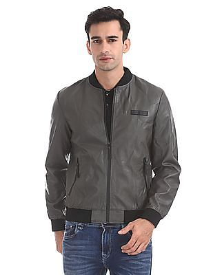 Flying Machine Ribbed Neck Textured Bomber Jacket