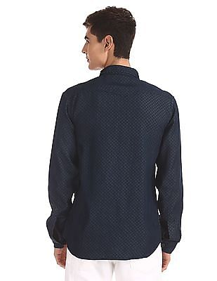 Cherokee Blue Rounded Cuff Printed Shirt