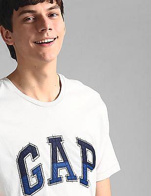 GAP Grey Logo Patchwork Short Sleeve T-Shirt