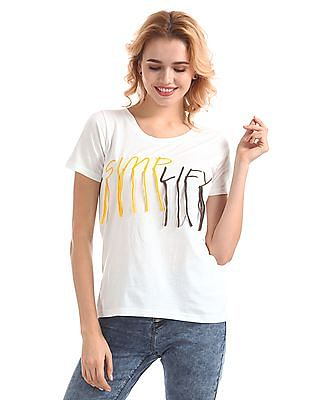 SUGR Ribbed Neck Embroidered Top