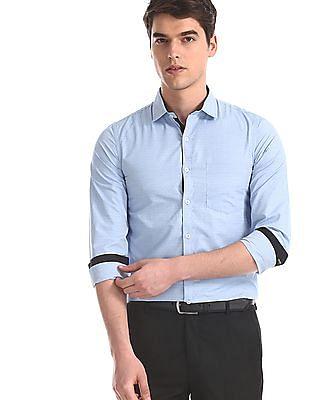 Excalibur Blue Slim Fit Patterned Shirt