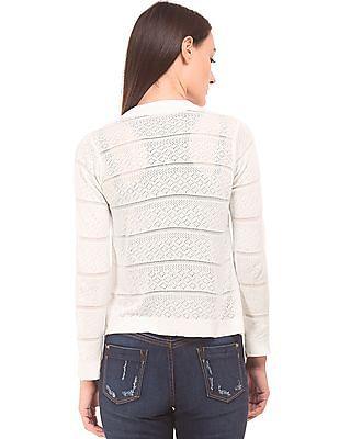 Elle Patterned Knit Solid Shrug