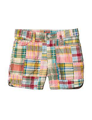 GAP Girls Madras Patchwork Midi Shorts