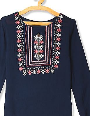 Bronz Embroidered Crinkled Top