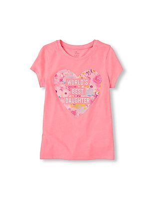 The Children's Place Girls Short Sleeve 'World's Best Daughter' Graphic Tee