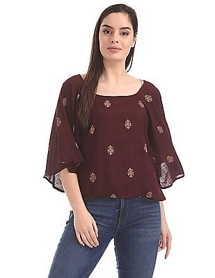 Bronz Foil Print Flared Sleeve Top