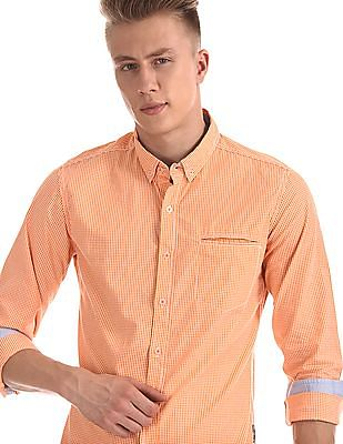 Flying Machine Button Down Collar Check Shirt