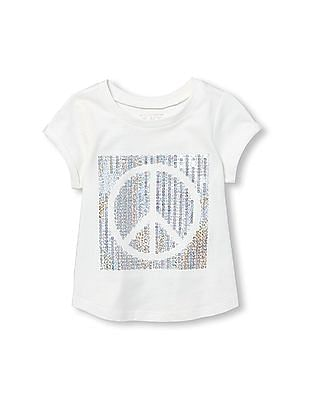 The Children's Place Toddler Girl Short Sleeve Sequin Graphic Top