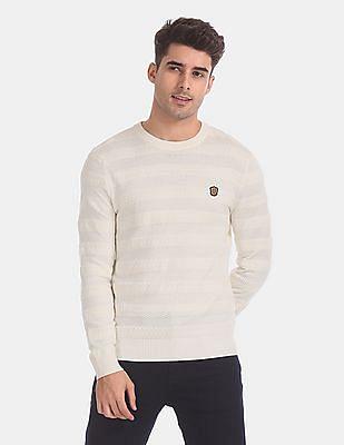 True Blue White Slim Fit Patterned Sweater