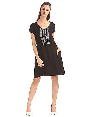 Bronz V-Neck Patterned Dress