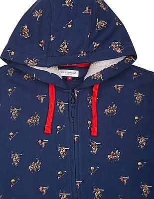 U.S. Polo Assn. Kids Boys Printed Hooded Sweatshirt