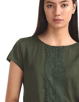 Cherokee Green Round Neck Lace Accent Top