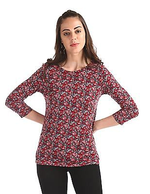 Cherokee Red Round Neck Printed Top