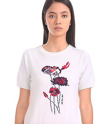 U.S. Polo Assn. Women Floral Pattern Knit Top