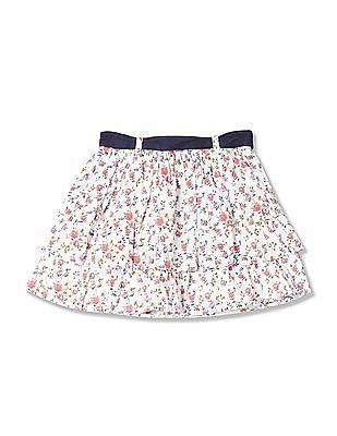 U.S. Polo Assn. Kids Girls Floral Print Tier Skirt