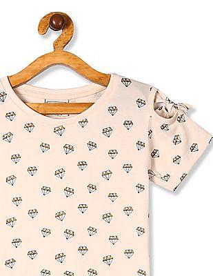 Cherokee White Girls Cold Shoulder Diamond Print Top
