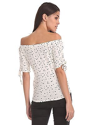 Aeropostale Off-Shoulder Polka Dot Top