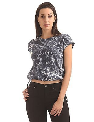 Flying Machine Women Washed Slub Jersey Boxy Top