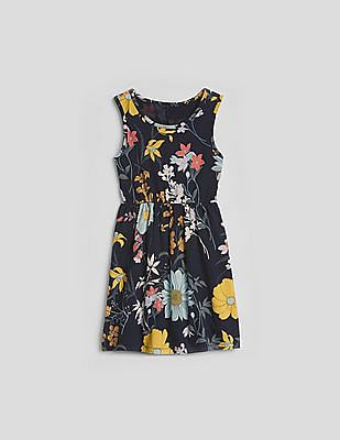 GAP Girls Blue Print Fit And Flare Dress