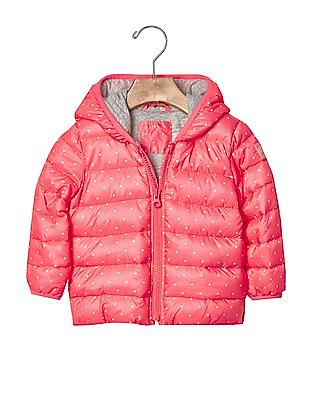 GAP Baby Pink Cold Control Lite Print Puffer Jacket
