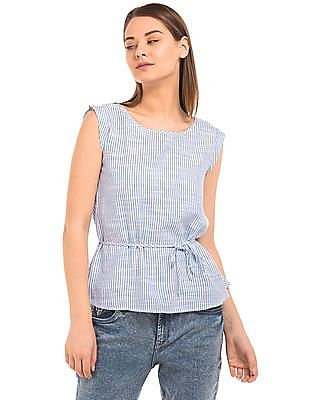 Flying Machine Women Regular Fit Striped Top