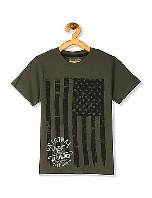 Cherokee Green Boys Crew Neck Printed T-Shirt