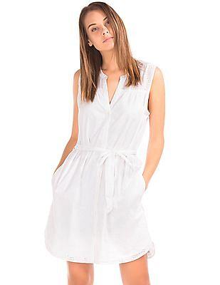 GAP Women White Schiffli Sleeveless Shirt Dress