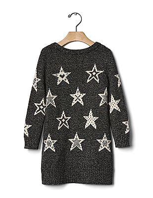 GAP Baby Black Star Marled Sweater Dress
